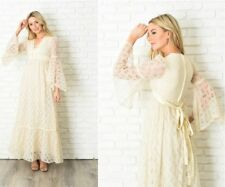 Vintage 70s Angel Sleeve Lace Dress Boho Hippie Wedding XS Cream