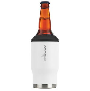 Reduce Stainless Steel Cold-1 Bottle/Can Cooler, 14oz White PC