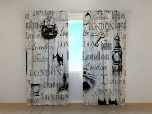 3D Photo Curtain Printed Collage Old London By Wellmira Made to Measure