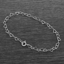 Genuine 925 Sterling Silver 3mm Heart Link Bracelet