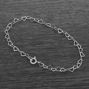 Genuine 925 Sterling Silver 3mm Heart Link Bracelet / Anklet