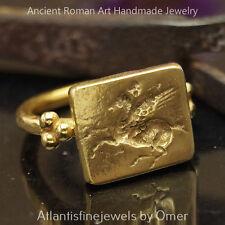 Pegasus Coin Ring Handmade Sterling Silver Design By Omer 24k Gold Vermeil
