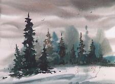"""DECEMBER EVENING""  original watercolor by American artist Micheal Jones"