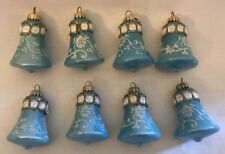 Blue West Germany Bell Christmas Ornaments Glitter Floral Swirls Lot 8 Vintage