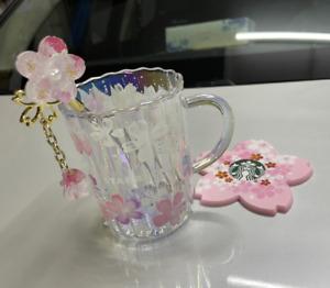 2021 NEW Starbucks Japan Sakura Glass W/Stir Stick Cups Glass Mugs &Pink Coaster