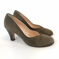 Hobbs Size 37 UK4 Brown Leather Suede Slip On Pump Court Heels Shoes
