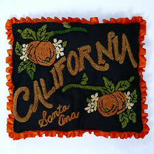 Vintage SANTA ANA CALIFORNIA Chenille Souvenir Pillow Black Oranges