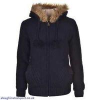 SoulCal & Co Ladies Lined Knitwear Fur Hoodie Full Zipped  Top 8 ( XS ) B431-9