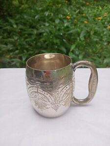 Vintage Silver Plated Tankard or Mug with detailed Victorian Style Etching Heavy