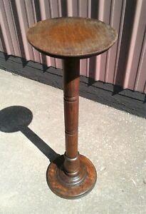 Antique Quarter Sawn Oak Pedestal Stand w/ Round Top 1920s