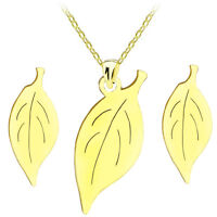 Gold Leaf Stainless Steel 316L Stud Earrings Necklace Pendant Jewellery Set S816