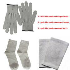Conductive Fiber TENS/EMS Electrode Therapy Shock Massage Gloves+Socks+Knee Pads