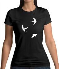 Pistolet Boutique Hommes à manches retroussées noir ras du cou poitrine Tatouage Hirondelles T-Shirt