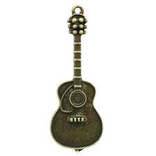 10 Pendentifs breloque Guitare Bronze 5x1.8cm B27051