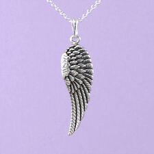 """925 Sterling Silver """"Angel Wing (Right)"""" 18""""/20"""" Pendant A109"""