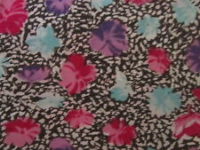 Black and white fabric material lightweight pink purple & blue flowers floral