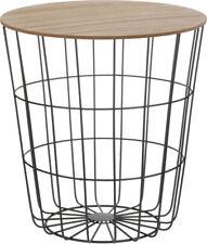 Design Beistelltisch - schwarz oder weiß - Holz Deko Couchtisch mit Metall Korb