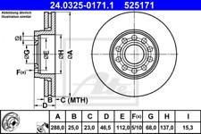 2x Bremsscheibe für Bremsanlage Vorderachse ATE 24.0325-0171.1