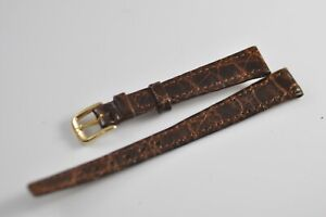 12mm Omega Vintage Band Strap Brown with Gold Plated Buckle NOS Mint (W2)
