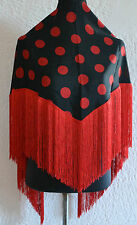 "Spanish Flamenco black  shawl with red polka dots & red fringe 57""x34""145 x 86cm"