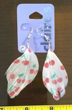 Claires Claire's Earrings White Cherry Feather Cute Jewellery RRP £5