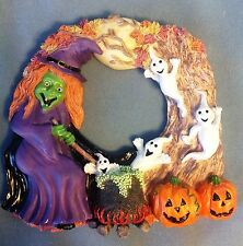 """Halloween Wall or Door Hanging Decor - Witch and Friends - 12"""" - Resin"""