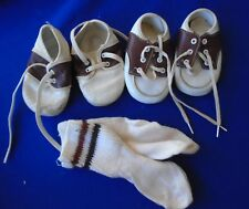 Vintage 1960's baby 2-Tone Brown White Saddle Shoes lace up Cabbage Patch?