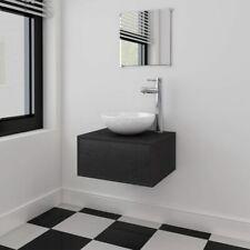 vidaXL 3 Piece Bathroom Furniture and Basin Set Black Cabinet Mirror Sink