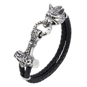 Men's Stainless Steel Norse Viking Wolf&Thor hammer Mjolni Leather Cuff Bracelet