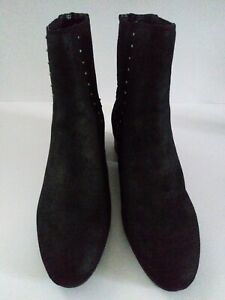 New A2 by Aerosoles Faux Leather Memory Foam Footbed Black Ankle Boots Size 8.5