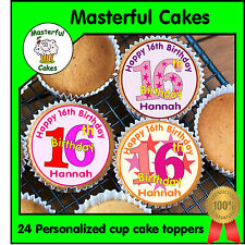 24 PERSONALISED 16th BIRTHDAY DESIGN 3  EDIBLE RICE PAPER CUP CAKE TOPPERS