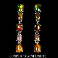 Oval Black Opal Rainbow Full Flash 8x6mm 925 Sterling Silver Earrings
