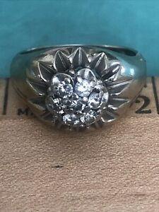 Vintage Estate 14k White Gold Diamond Engagement Ring, 7 stones 8 Grams Total