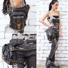 UK Women Leather Steampunk Belt Bag Waist Leg Hip Holster Cyberpunk Pouch Purse