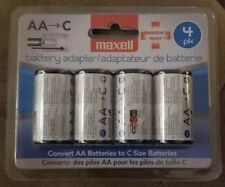 4-Pack C Size Maxell Battery Adapters for AA Batteries