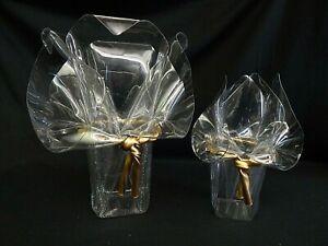 Pair of Lucite Handkerchief Vases w Gold Rope