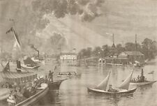 SATURDAY AFTERNOON ON THE HARLEM RIVER. ROWING CREW YACHTS ENGRAVING 1879