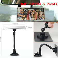 Universal Car Wide Flat Interior View Mirror Suction Stick Rearview 360° Rotates