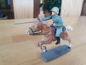 Elastolin Soldat Reiter stürmend Kavallerie Militär II WK Masse RAR