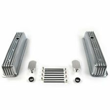 Vintage Center Bolt Finned Valve Covers w/ Breathers (No PCV)Small Block Chevy