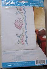 """Janlynn Stamped Cross Stitch Kit Pillowcase Pair 20"""" x 30"""" SEASHELLS #021-0931"""