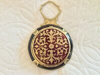#8 ANTIQUE CHAMPLEVE ENAMEL GUILLOCHE 2 SIDED RUBY RED COMPACT