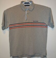Tommy Hilfiger Polo-Style Shire   Size L  Gray with Red, White, Blue stripes