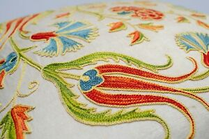 Tulips Handmade Silk embroidery Best Suzani pillow cover Uzbekistan traditional