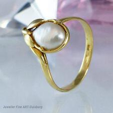 Ring in 750/- Gelbgold mit sehr schöner Mabeperle