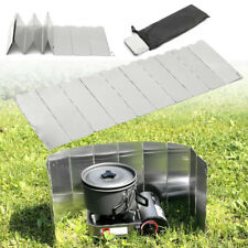 Foldable 9 plates Fold Camping Cooker Gas Stove Wind Shield Screen Outdoor UK ME