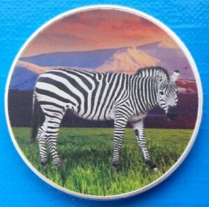 Zambia African Zebra 2016 UNC Africa Wildlife Color Coin