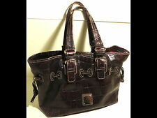 Dooney & Bourke Brown Faux Alligator Embossed Leather Handbag/Pocketbook/Purse
