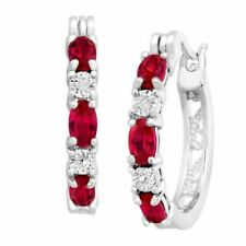 Finecraft 2 Ct Created Ruby Hoop Earrings - Silver/Red