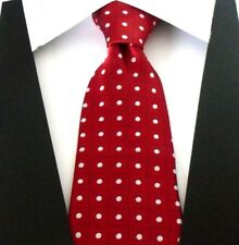 Designer Hand Woven 100% Pure Silk Tie Red with White & Black Squares Pattern
